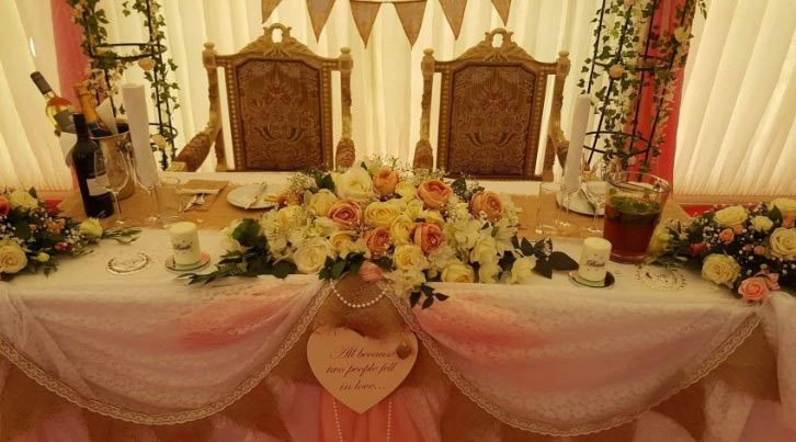 chairs for the bride and groom